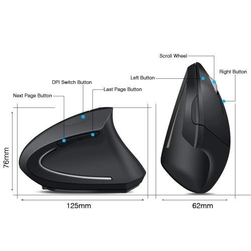 ErgoSupply SR150L Ergonomische Maus Wireless Links