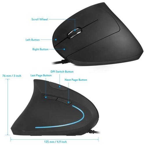 ErgoSupply SR100L Ergonomische Maus mit Kabel - LINKS