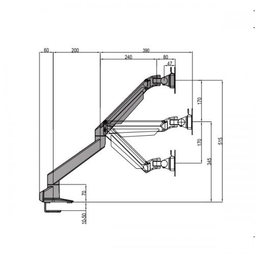 Devia Monitorarm 9 - 21 kg - monitorhalterung