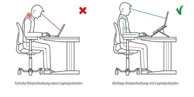 Richtige Körperhaltung Laptopständer